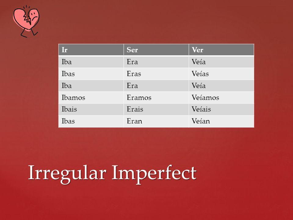 Irregular Imperfect Ir Ser Ver Iba Era Veía Ibas Eras Veías Ibamos
