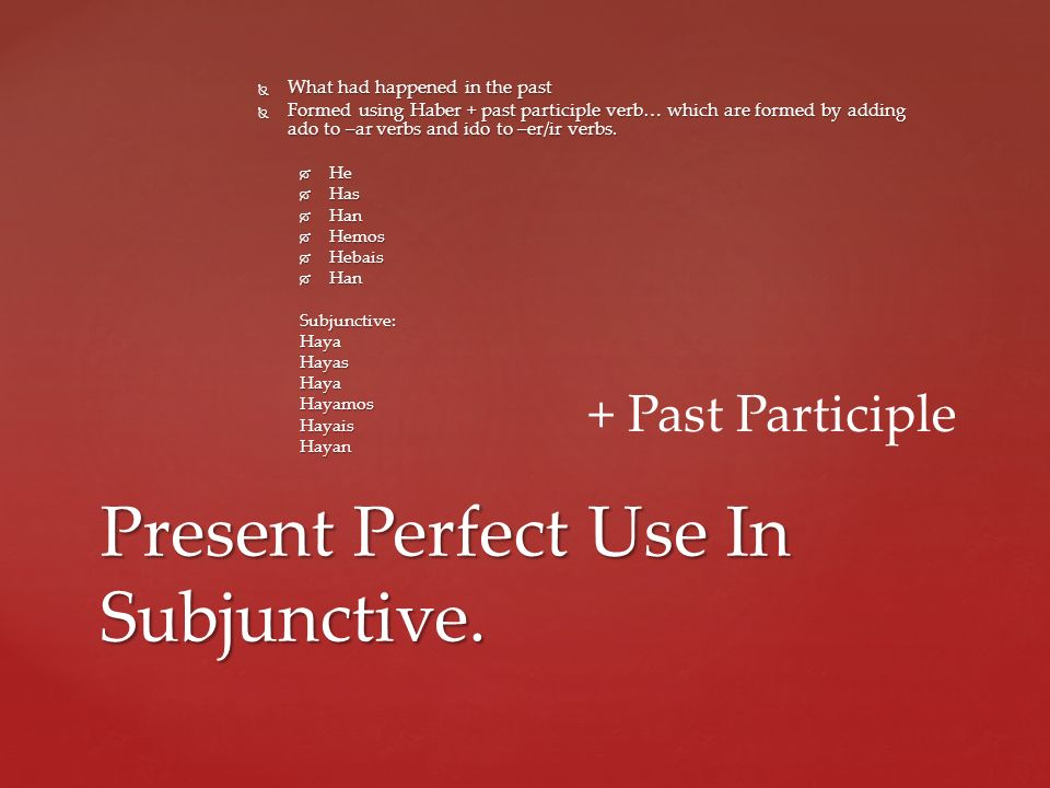 Present Perfect Use In Subjunctive.