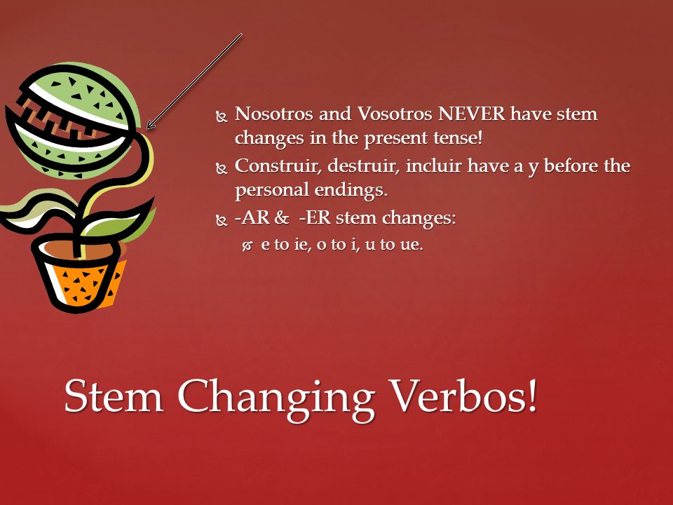 Nosotros and Vosotros NEVER have stem changes in the present tense!