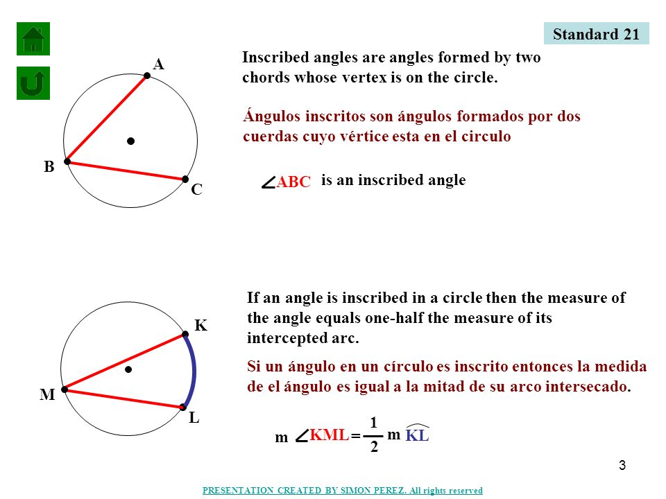 Standard 21 Inscribed angles are angles formed by two chords whose vertex is on the circle.