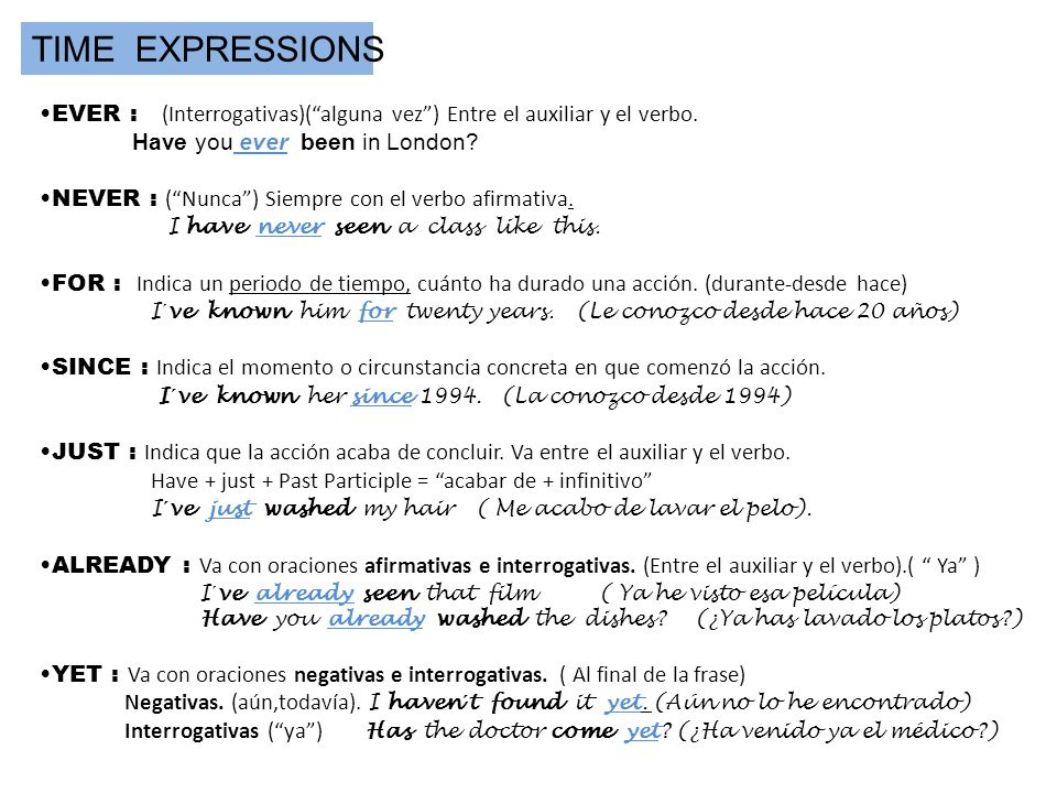 TIME EXPRESSIONS EVER : (Interrogativas)( alguna vez ) Entre el auxiliar y el verbo. Have you ever been in London