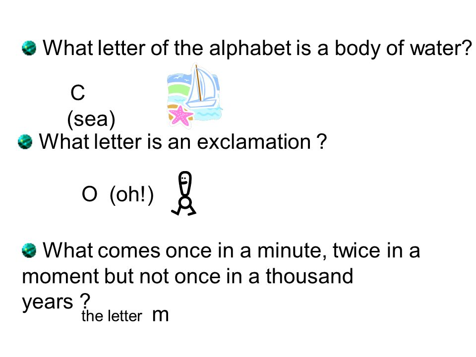What letter of the alphabet is a body of water