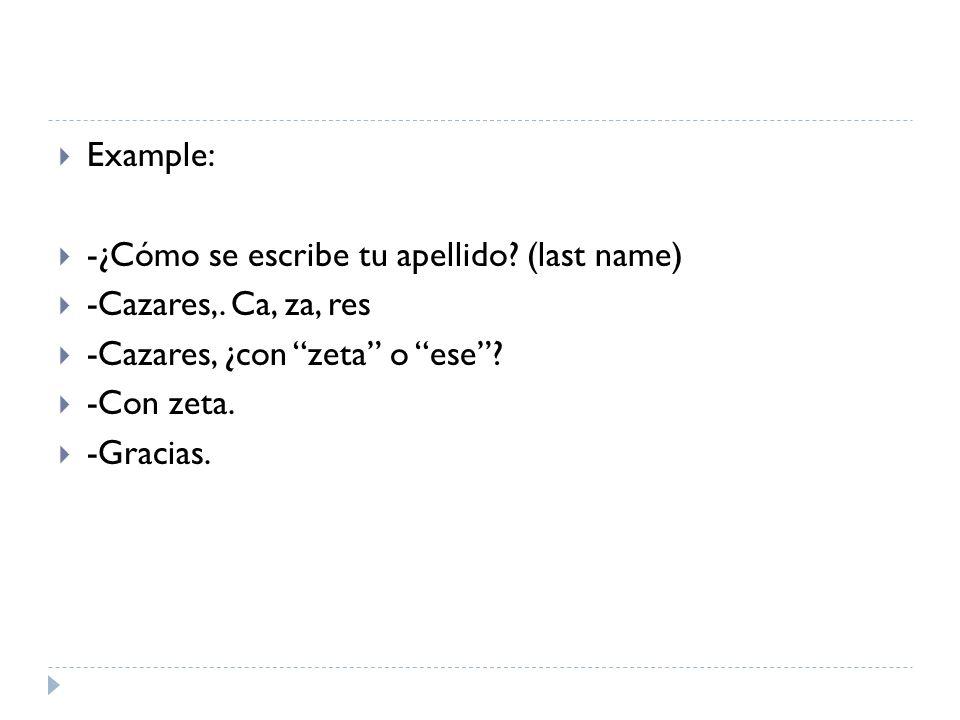 Example: -¿Cómo se escribe tu apellido (last name) -Cazares,. Ca, za, res. -Cazares, ¿con zeta o ese