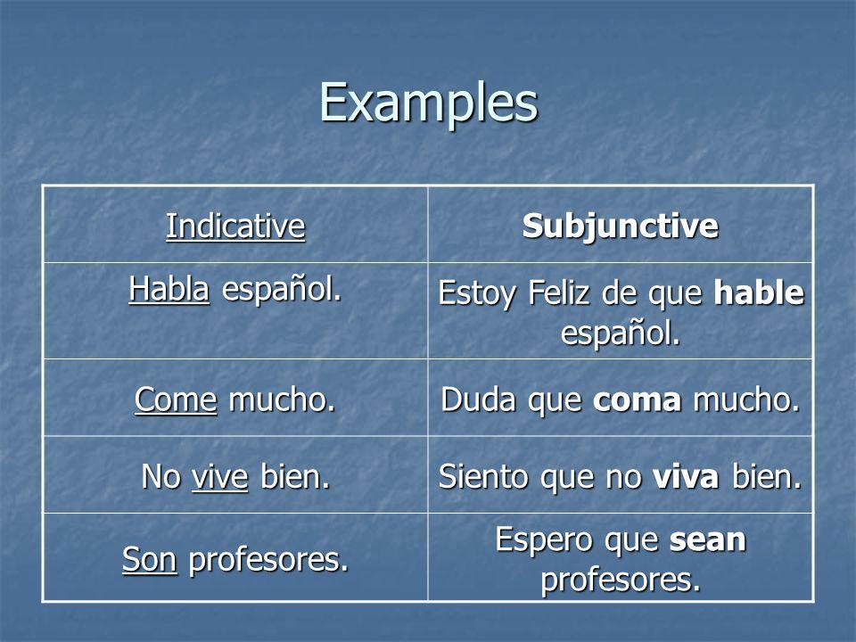 Examples Indicative Subjunctive Habla español.