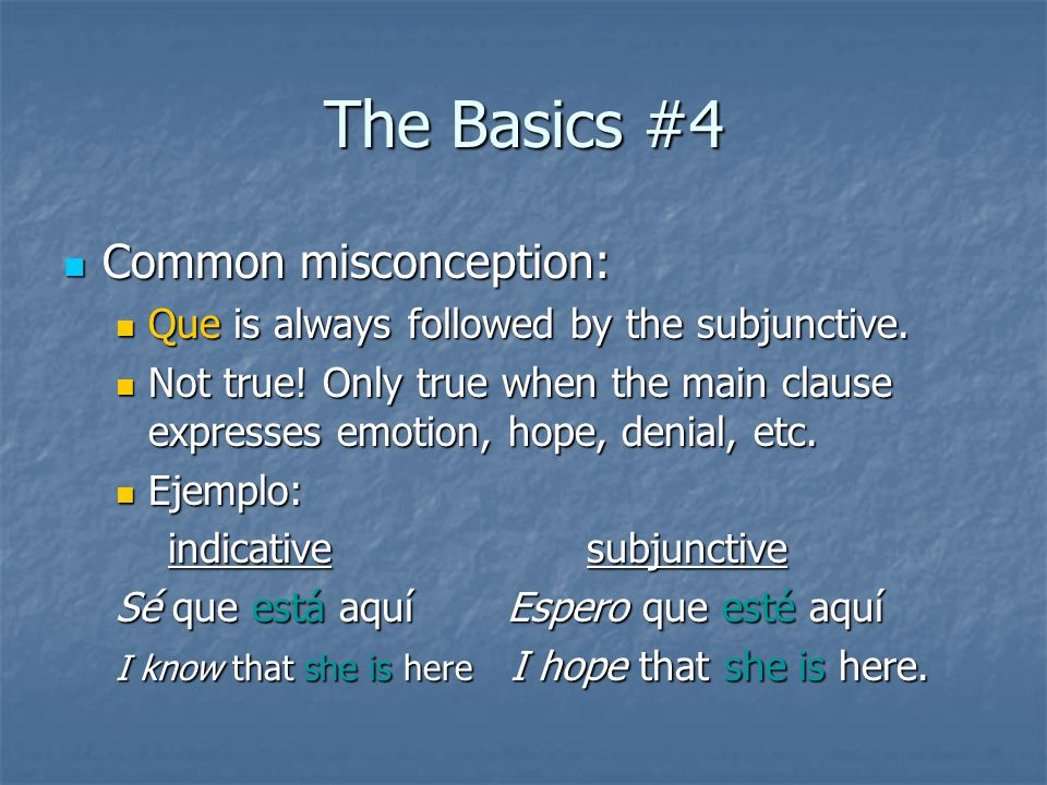 The Basics #4 Common misconception: