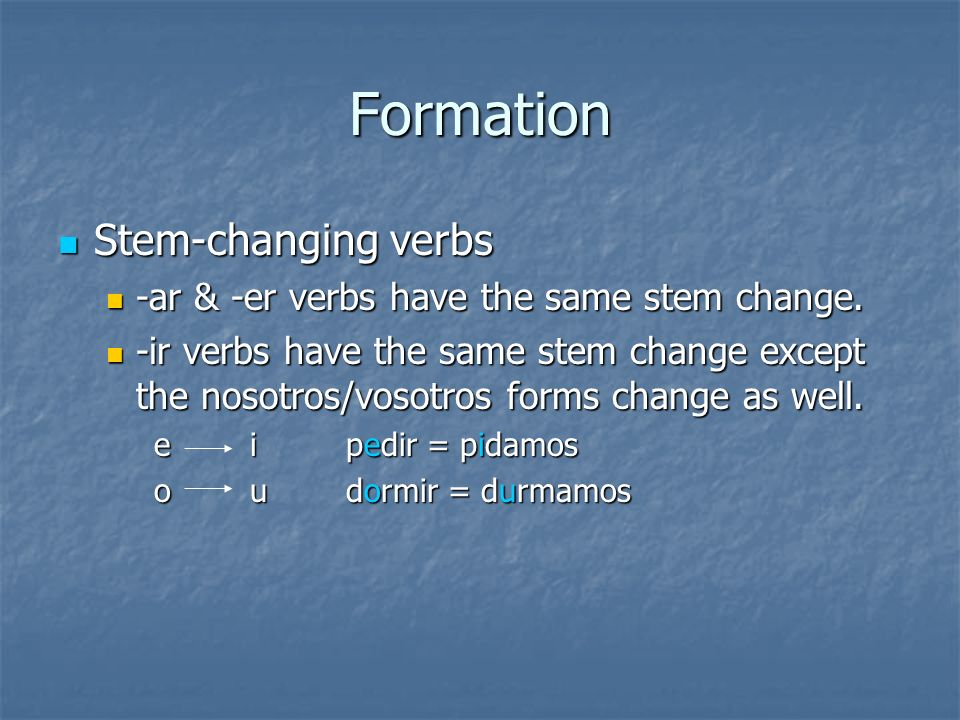 Formation Stem-changing verbs