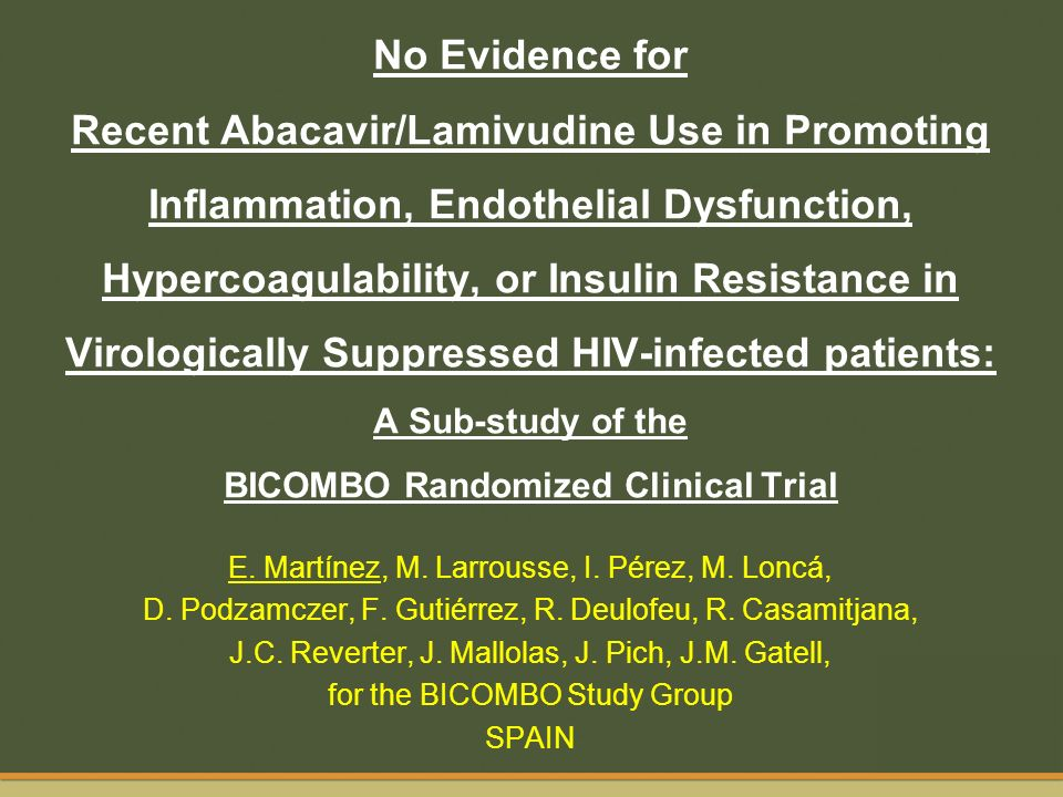 No Evidence for Recent Abacavir/Lamivudine Use in Promoting Inflammation, Endothelial Dysfunction, Hypercoagulability, or Insulin Resistance in Virologically Suppressed HIV-infected patients: A Sub-study of the BICOMBO Randomized Clinical Trial