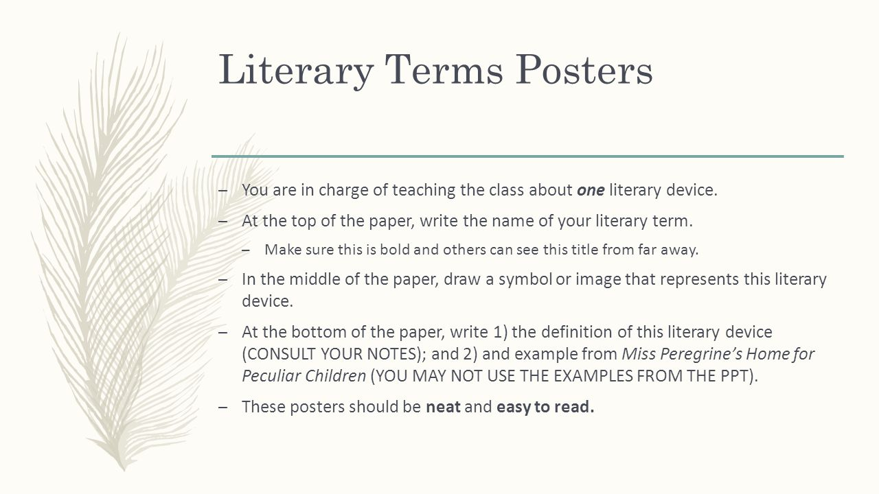 Miss peregrines home for peculiar children ppt download literary terms posters biocorpaavc