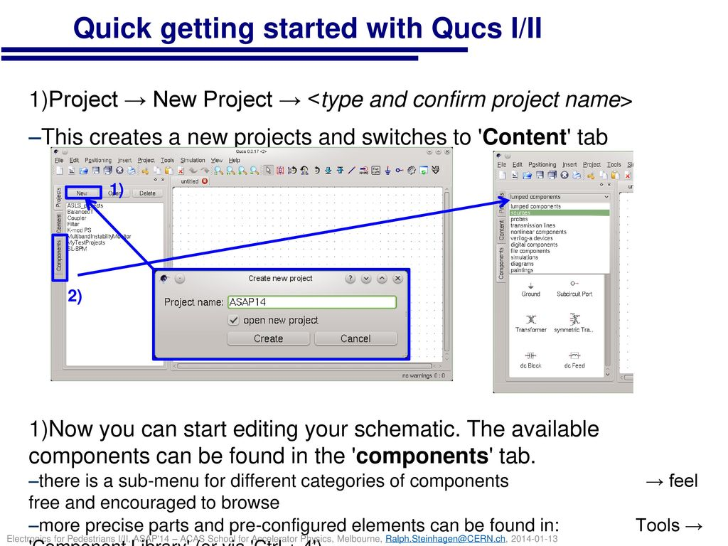 Quick getting started with Qucs I/II