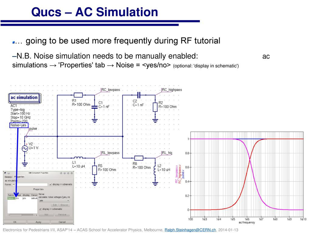 Qucs – AC Simulation … going to be used more frequently during RF tutorial.