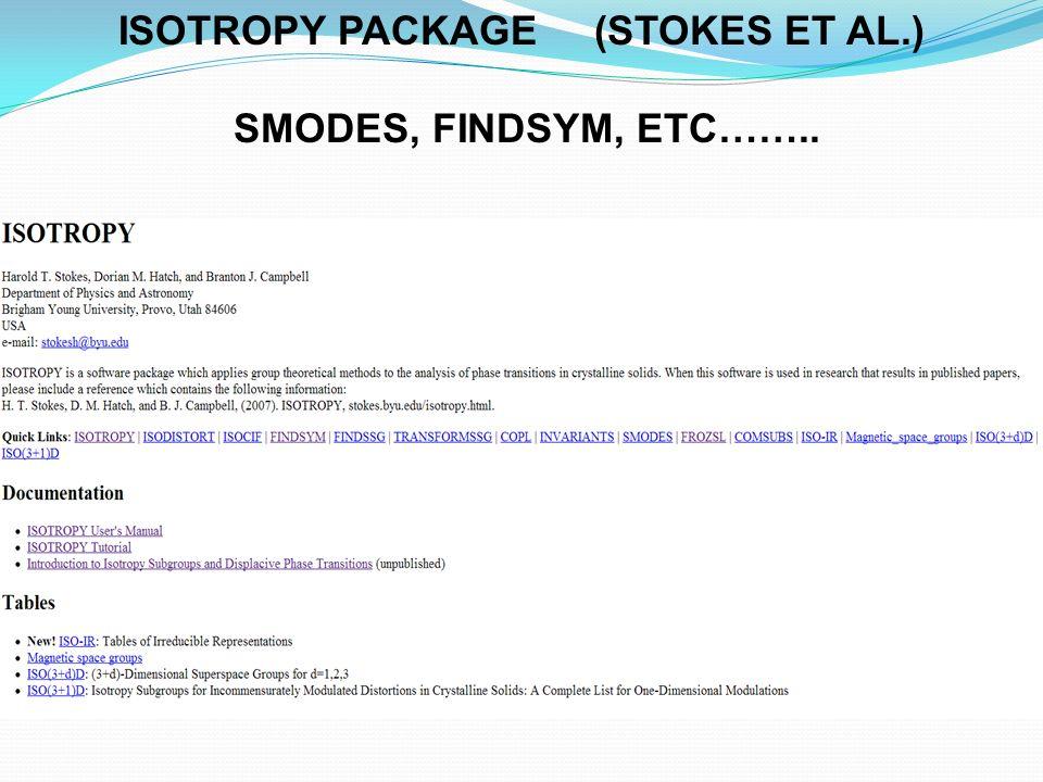 ISOTROPY PACKAGE (STOKES ET AL.)
