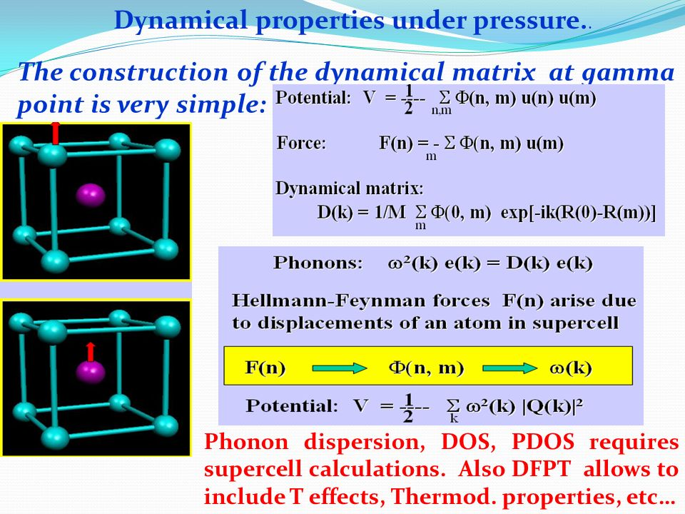 Dynamical properties under pressure..