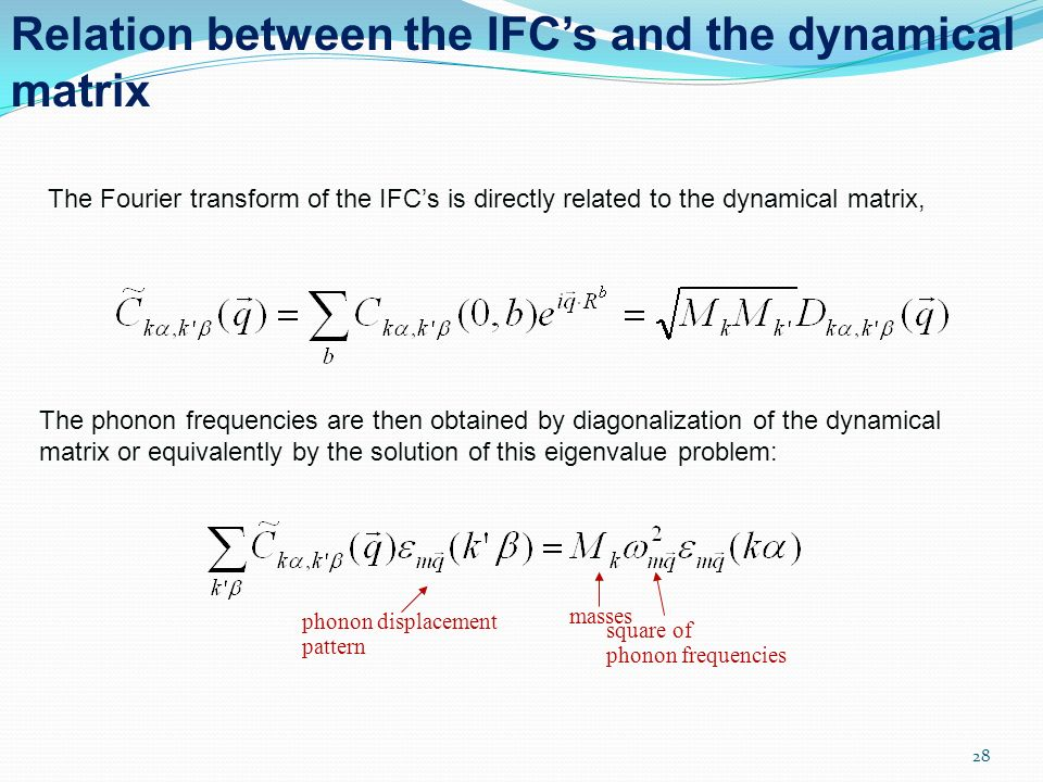 Relation between the IFC's and the dynamical matrix
