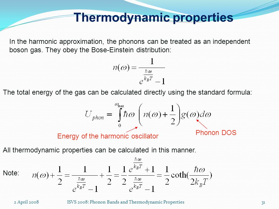 Thermodynamic properties