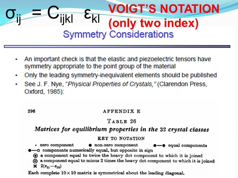 σij = Cijkl εkl VOIGT'S NOTATION (only two index)