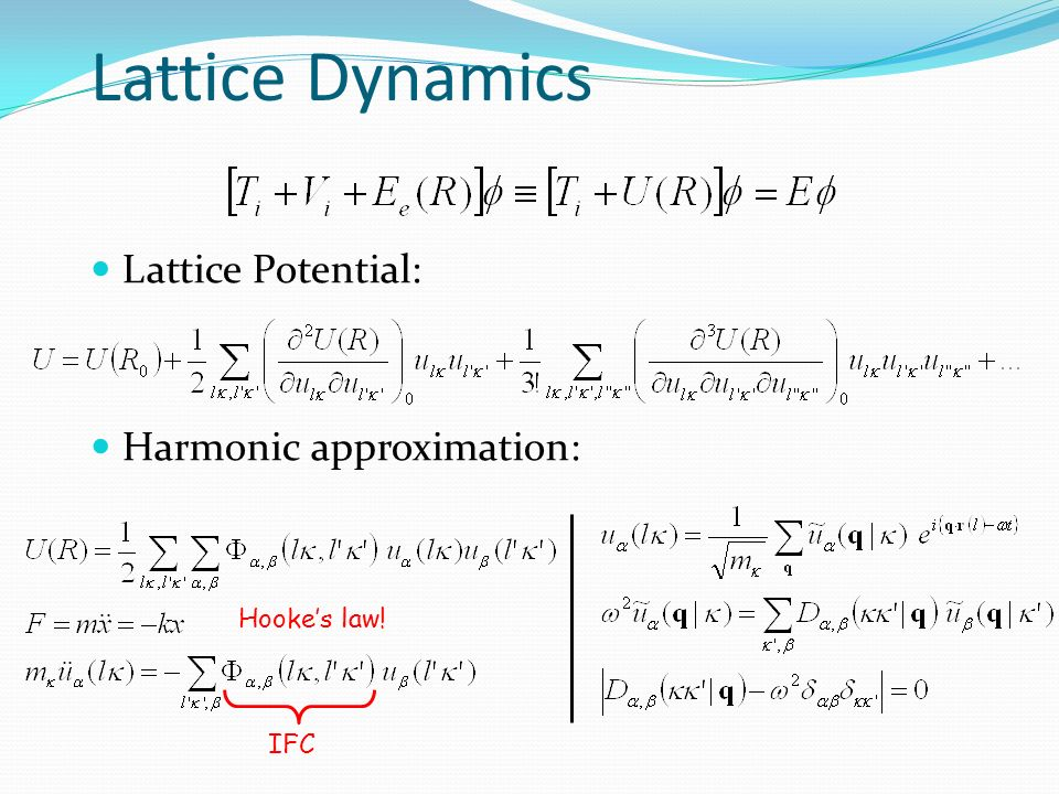 Lattice Dynamics Lattice Potential: Harmonic approximation: