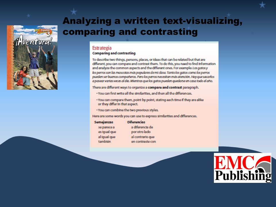 Analyzing a written text-visualizing, comparing and contrasting