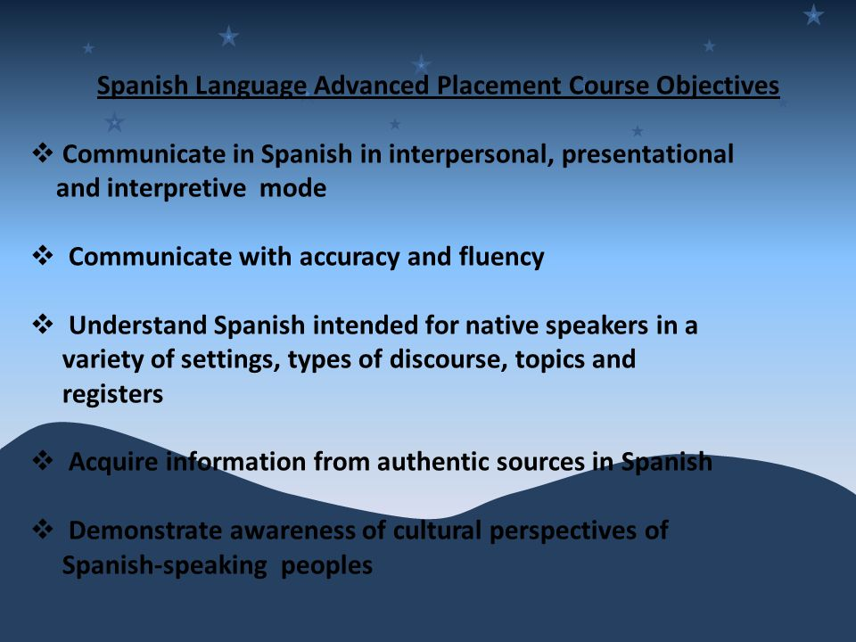 Spanish Language Advanced Placement Course Objectives