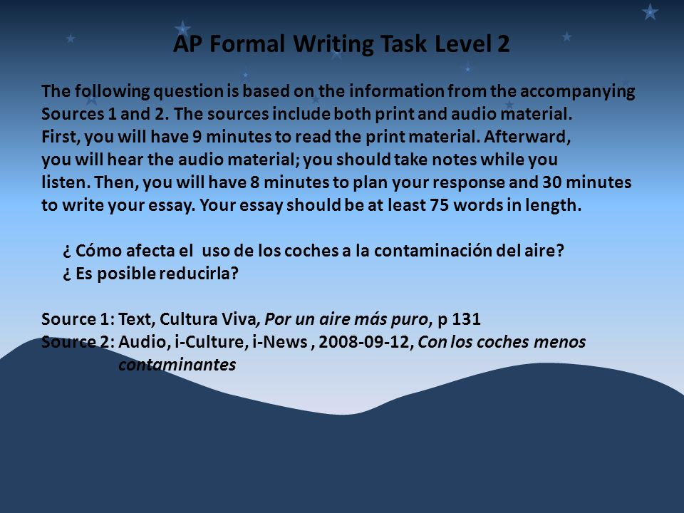 AP Formal Writing Task Level 2