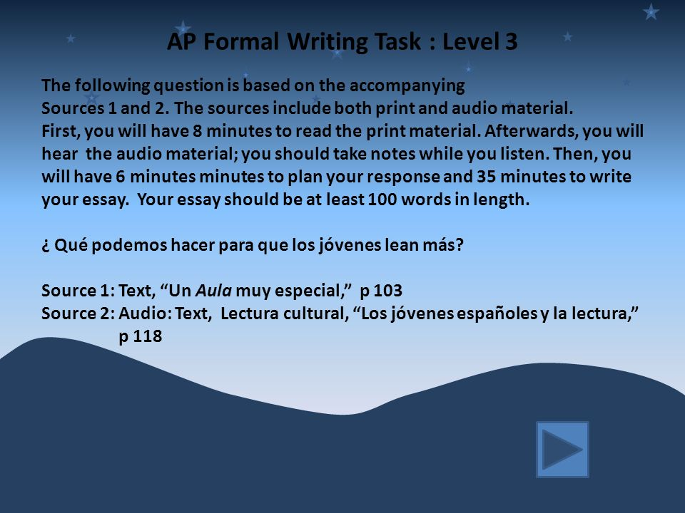 AP Formal Writing Task : Level 3