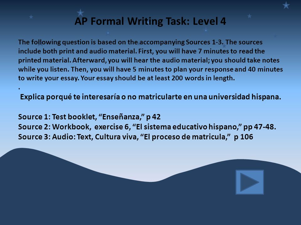 AP Formal Writing Task: Level 4