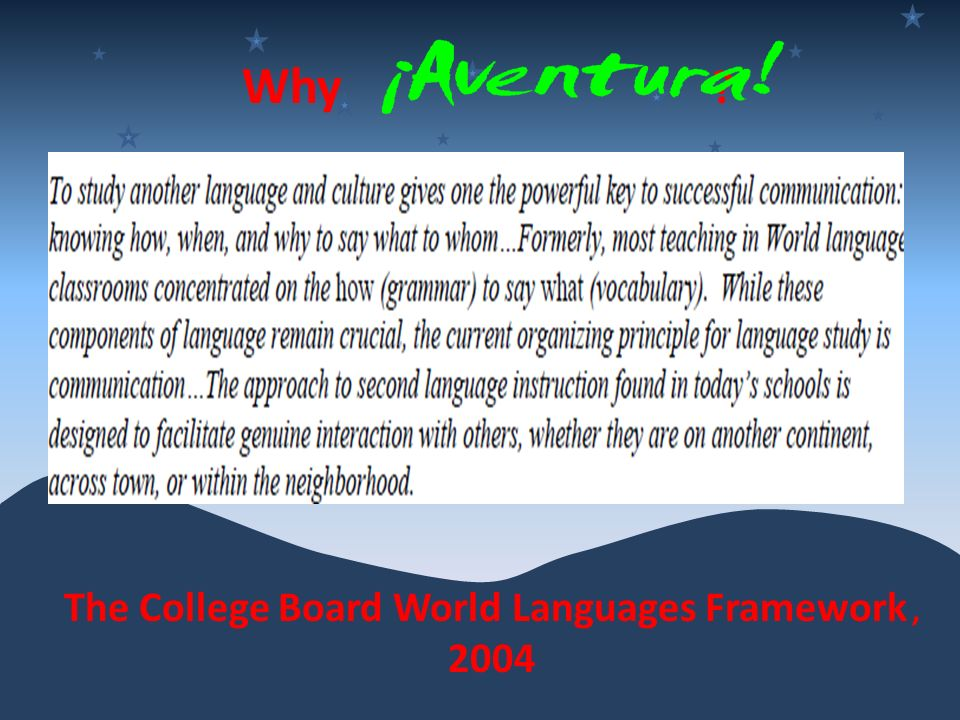 The College Board World Languages Framework , 2004
