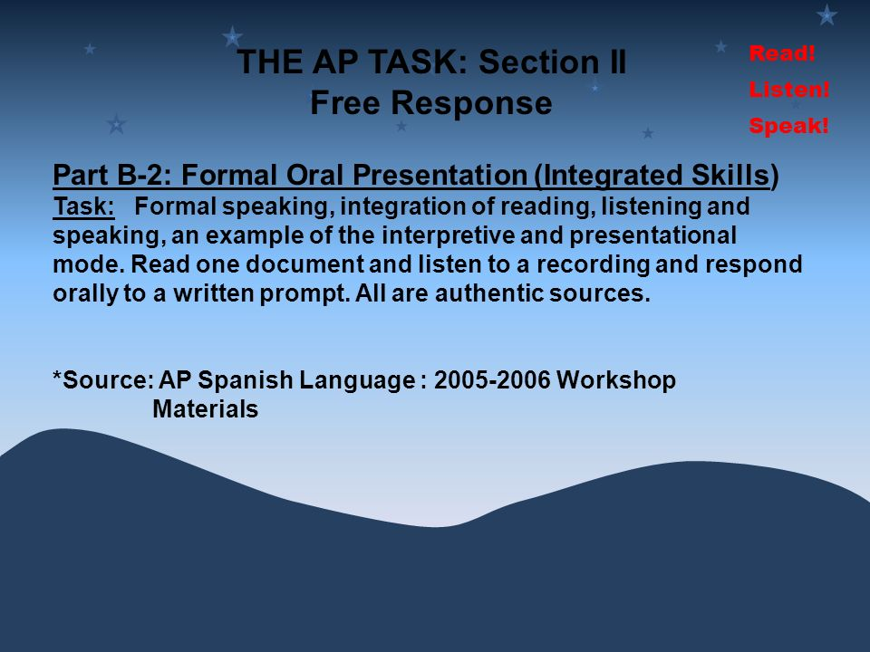 THE AP TASK: Section II Free Response