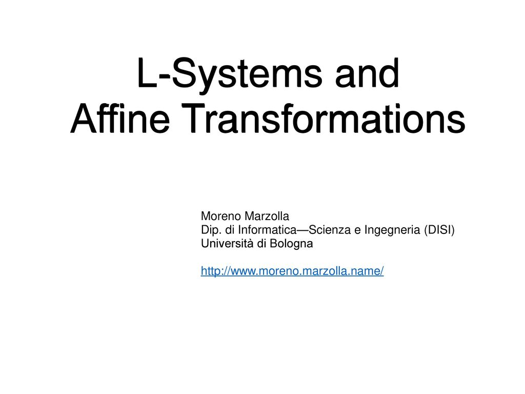 L-Systems and Affine Transformations - ppt video online download
