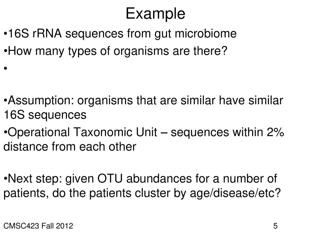 Example 16S rRNA sequences from gut microbiome
