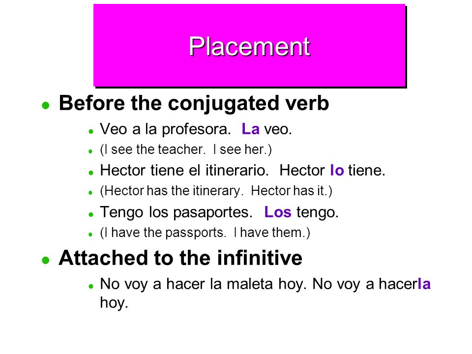 Placement Before the conjugated verb Attached to the infinitive
