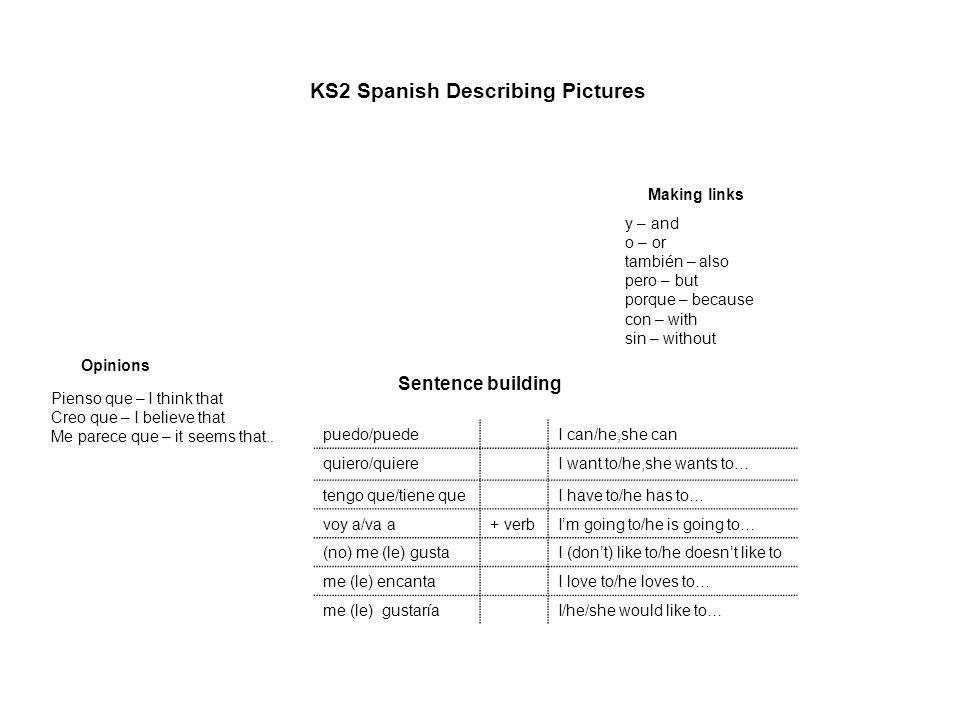 KS2 Spanish Describing Pictures
