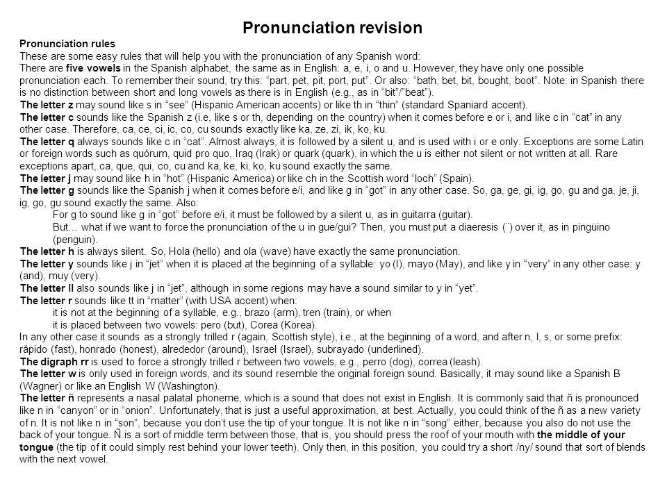Pronunciation revision