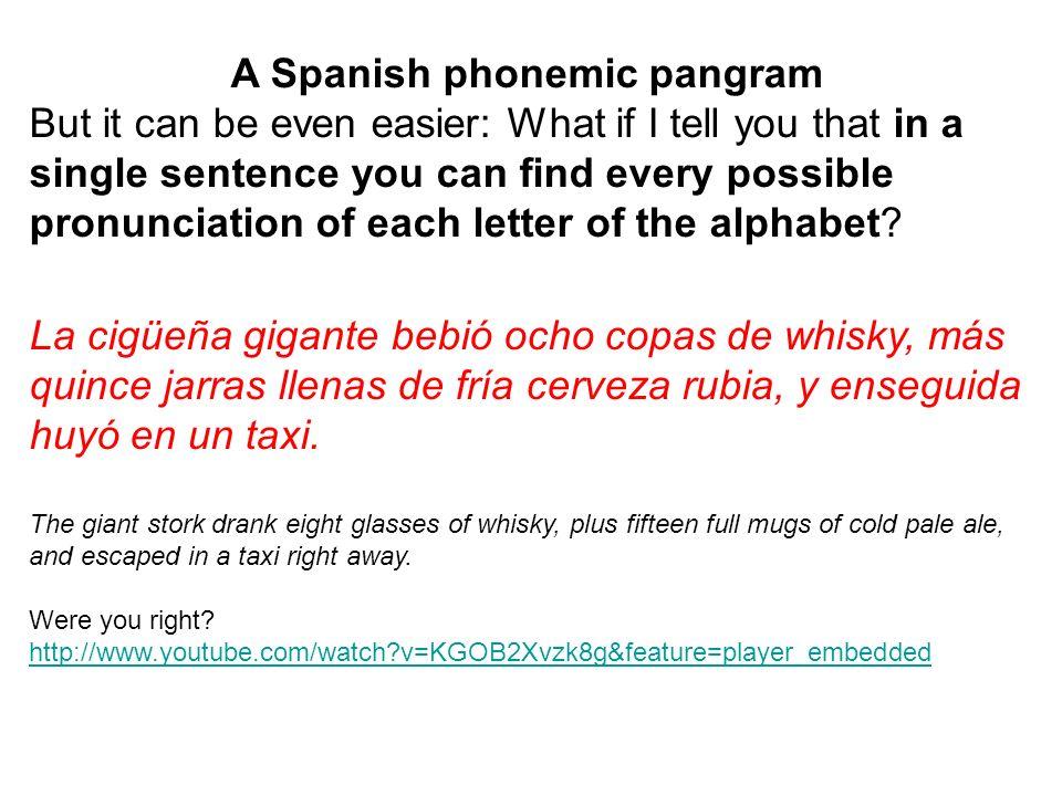 A Spanish phonemic pangram
