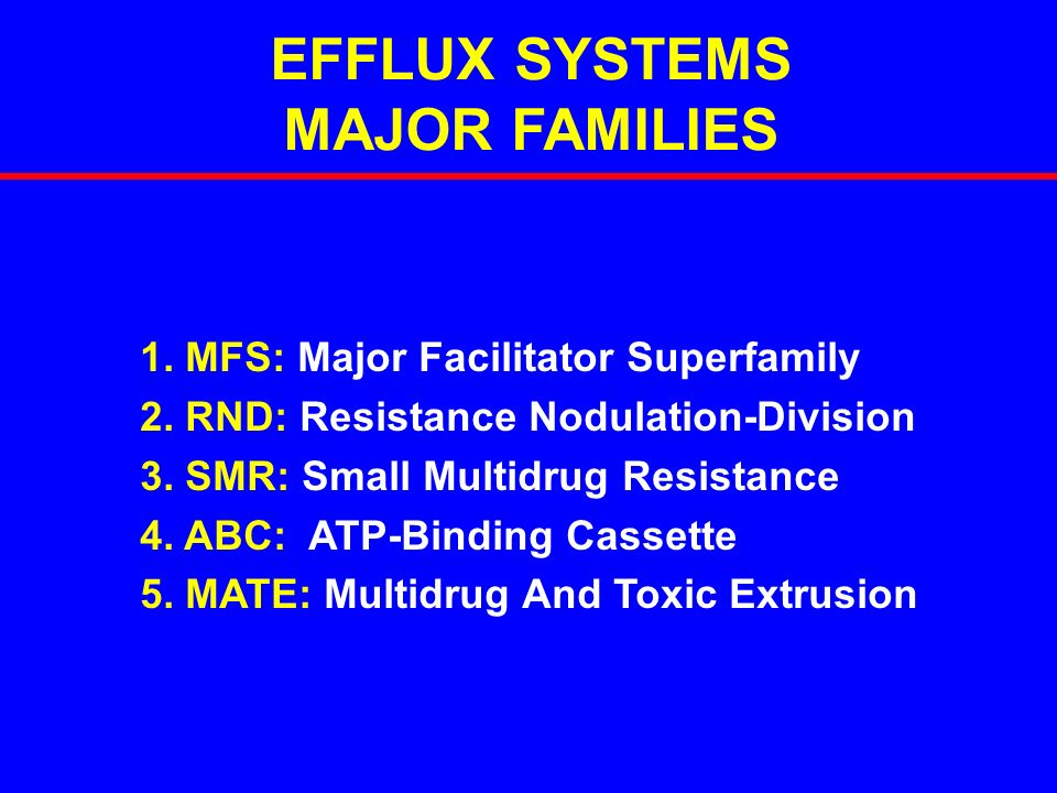 EFFLUX SYSTEMS MAJOR FAMILIES