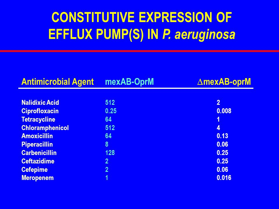 CONSTITUTIVE EXPRESSION OF EFFLUX PUMP(S) IN P. aeruginosa