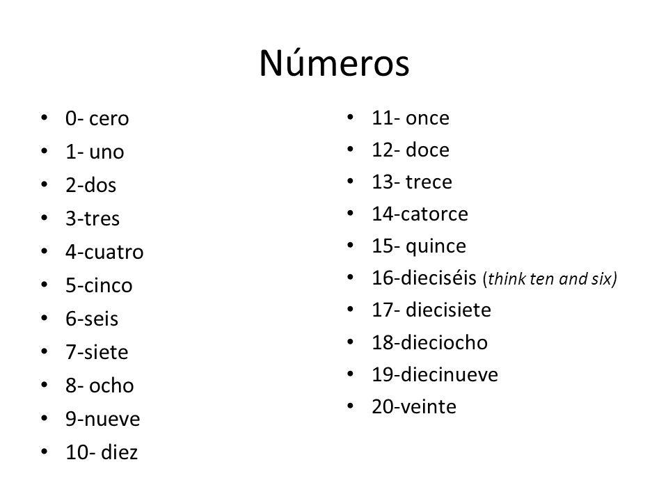 Números 0- cero 1- uno 2-dos 3-tres 4-cuatro 5-cinco 6-seis 7-siete