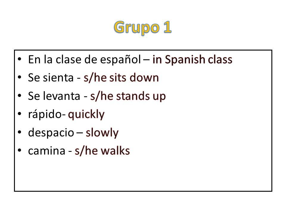 Grupo 1 En la clase de español – in Spanish class