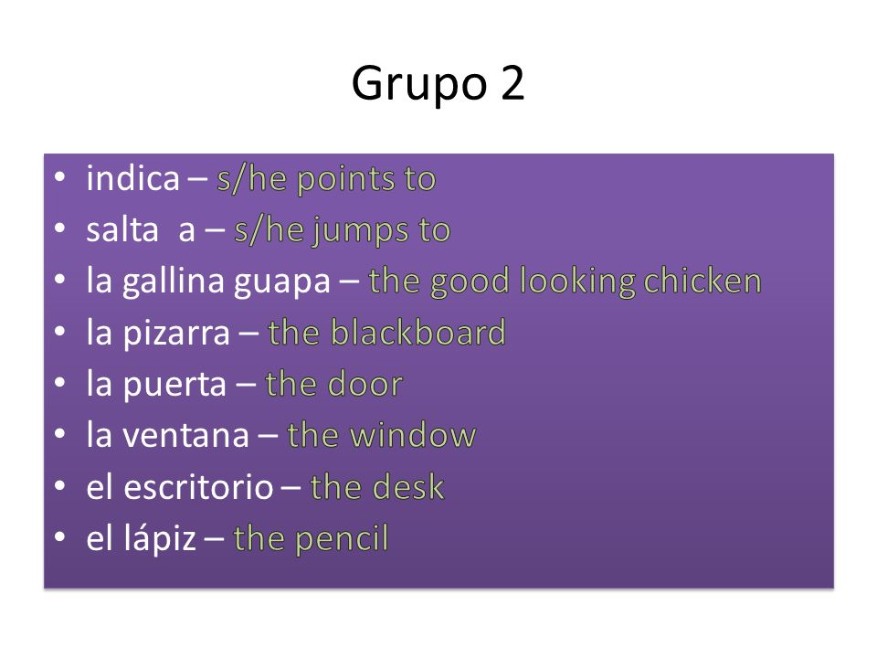 Grupo 2 indica – s/he points to salta a – s/he jumps to