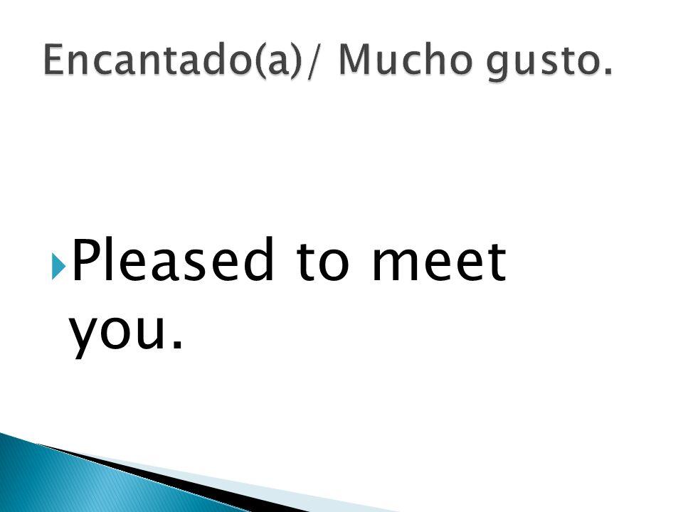 Encantado(a)/ Mucho gusto.