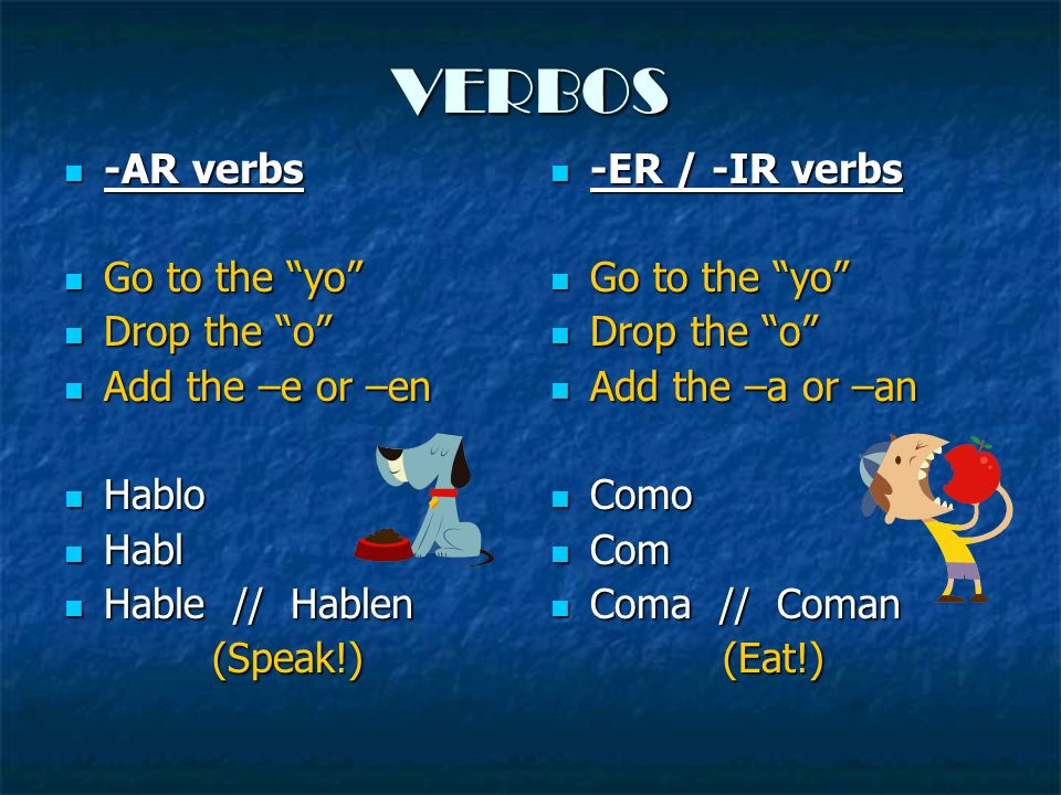 VERBOS -AR verbs Go to the yo Drop the o Add the –e or –en Hablo