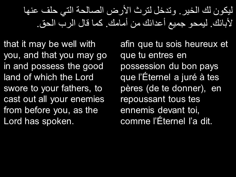 ليكون لك الخير. وتدخل لترث الأرض الصالحة التي حلف عنها لأبائك