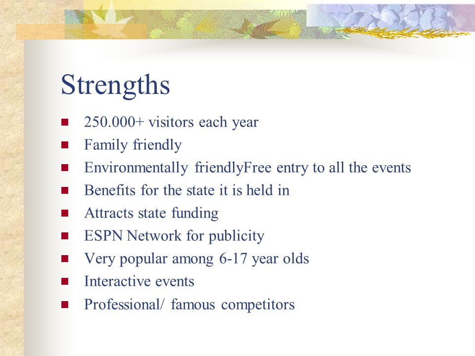 Strengths 250.000+ visitors each year Family friendly