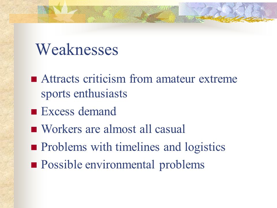 Weaknesses Attracts criticism from amateur extreme sports enthusiasts