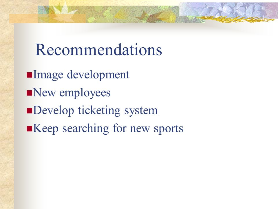 Recommendations Image development New employees
