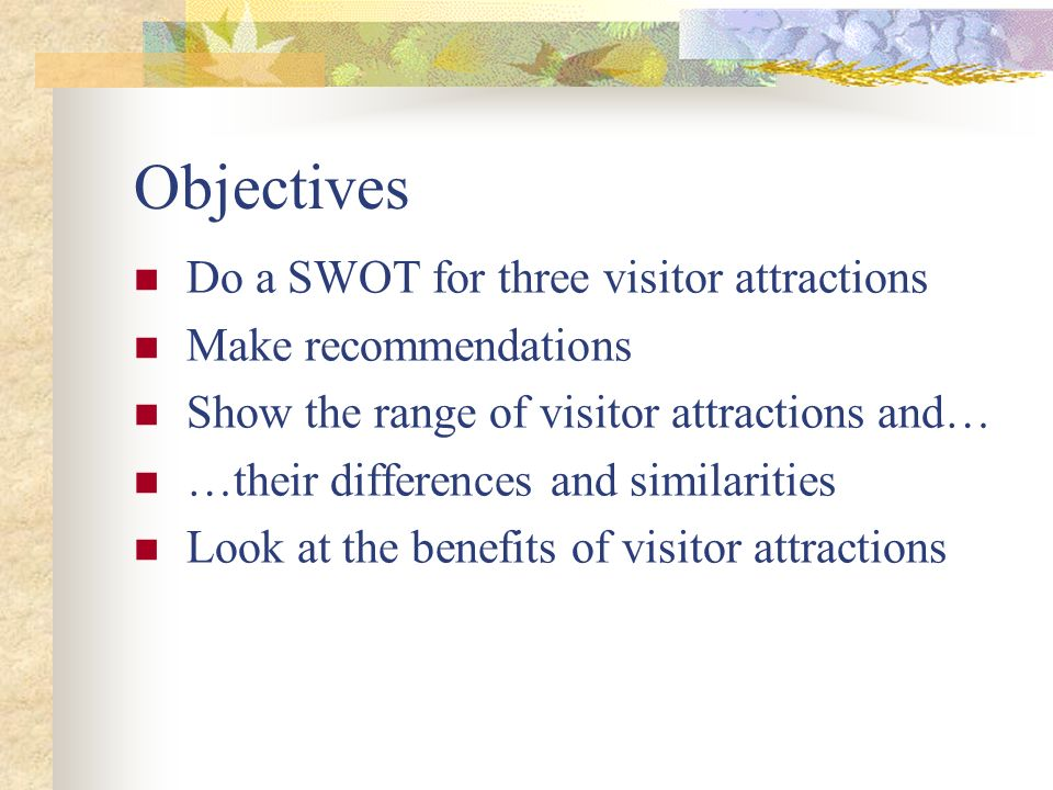 Objectives Do a SWOT for three visitor attractions