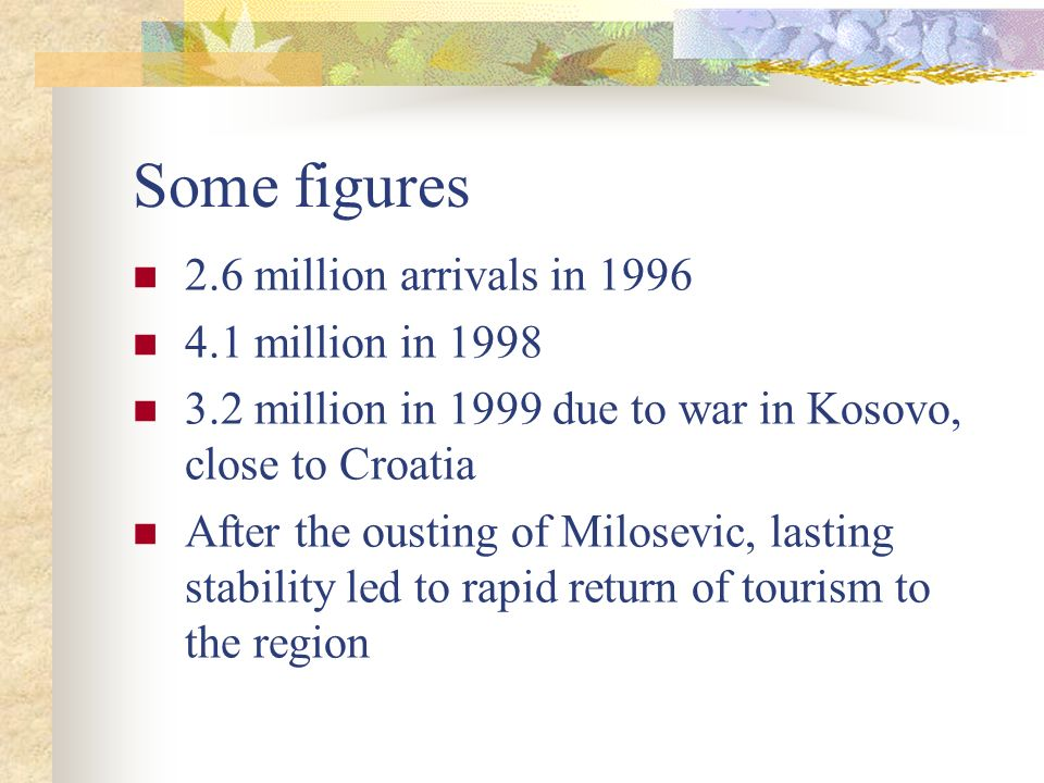 Some figures 2.6 million arrivals in 1996 4.1 million in 1998