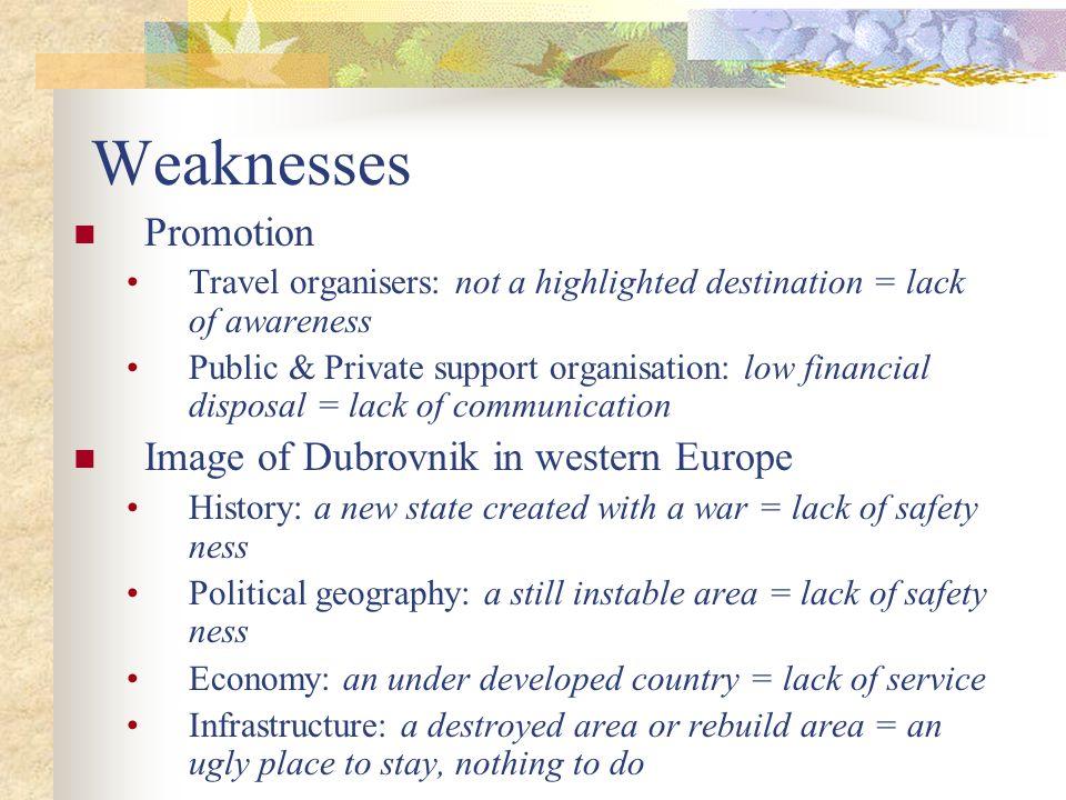 Weaknesses Promotion Image of Dubrovnik in western Europe