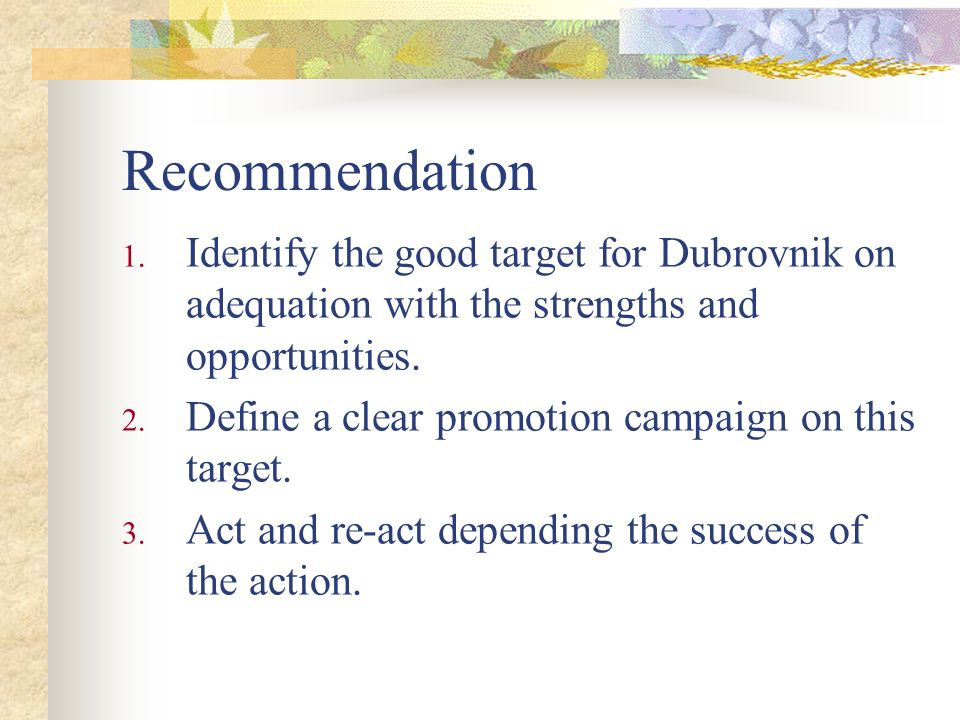 Recommendation Identify the good target for Dubrovnik on adequation with the strengths and opportunities.
