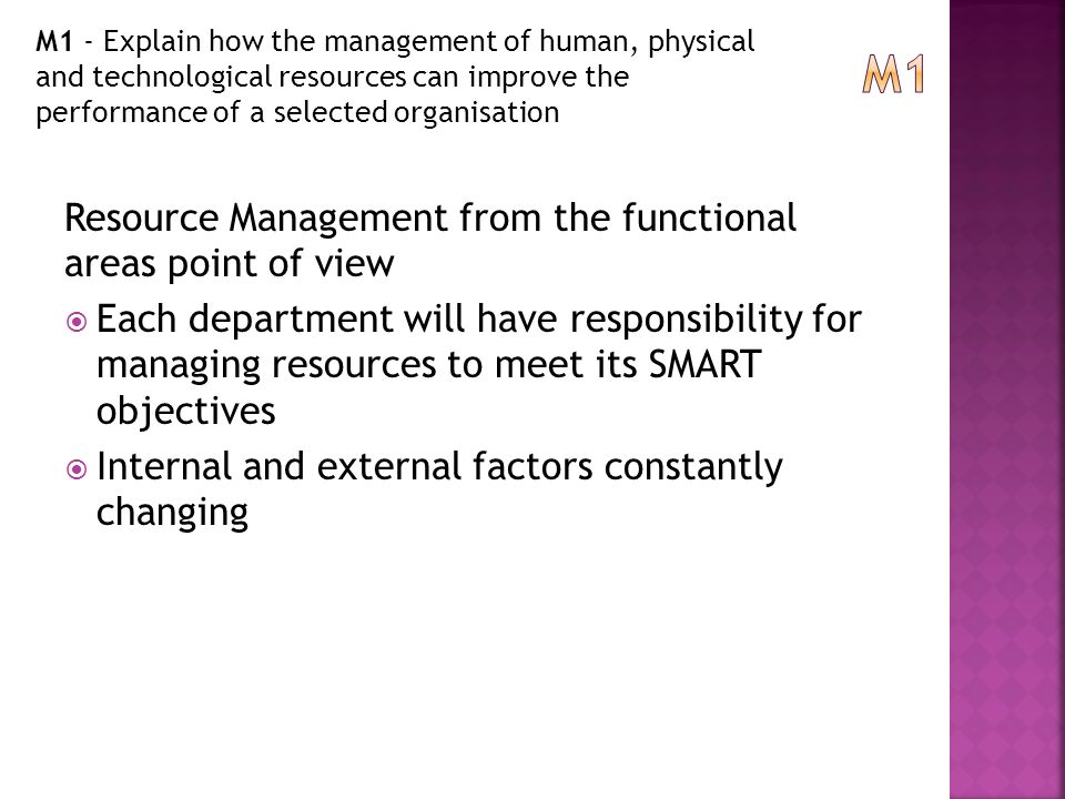 Management of Human, Physical and Technological Resources Essay