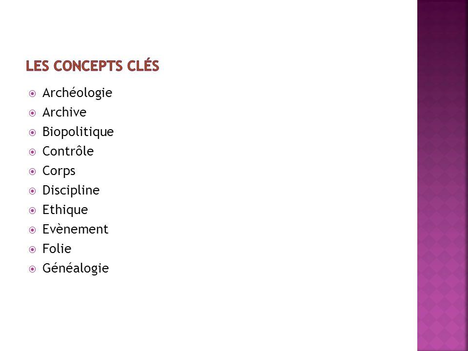 Les concepts clés Archéologie Archive Biopolitique Contrôle Corps